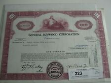 Vintage Stock Certificate General Plywood (Resources) Corporation Dated 1972