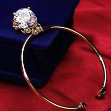 18K Gold Plated Simulated Diamond 7 Carat Sparkling Adjustable Cuff Bangle