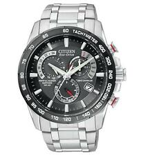 Mens Citizen Eco-Drive World Time Atomic Stainless Chronograph Watch AT4008-51E