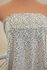 LYCRA SPANDEX WHITE/SILVER SEQUINS STRETCH BTY DANCE FORMAL COSTUME ICE SKATE
