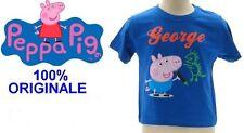 T-SHIRT MAGLIA PEPPA PIG FRATELLO GEORGE 5 - 6 ANNI BLU 100% COTONE