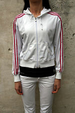 Adidas Womens White Pink Tracksuit Top Jacket  Polyester Hood Top M Medium
