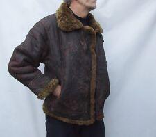 Vintage Antiguo el aspecto de piel de oveja de piel de oveja volando B3 de aviador de cuero Chaqueta L/XL