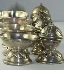 VTG 4 TAXCO MEXICAN STERLING SILVER SET OF 4 SALT DISH PEPPER SHAKERS