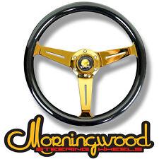 "MORNINGWOOD BLACK/GOLD STEERING WHEEL 360MM/14"" DEEP DISH CLASSIC STYLE P1"