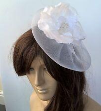 white satin flower fascinator millinery burlesque wedding hat bridal race