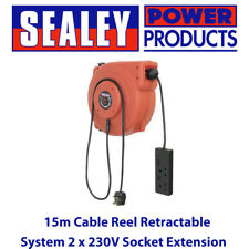 Sealey CRM15 15m Extension Cable Reel Retractable System 2 x 230V Sockets