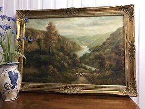 """Very Large """"Lake District or Scottish Highlands"""" Oil Painting Signed """"Wilder"""""""