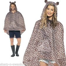 Ladies Mens Festival Essential Leopard Print Waterproof Party Poncho Accessory