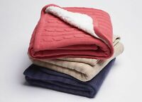 Jiggle & Giggle Sherpa & knit cable Baby Cotton Blanket Drak Pink|Latte| Navy
