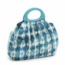 Hobbygift Fruncido Punto Bolsa Artesanal - Azul Ikat Diseño - Almacenaje