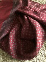 """MINT Londonderry 100% Silk Italy Hand Printed Scarf Red Oblong 48"""" x 17"""""""