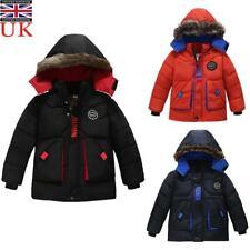 Baby Kids Boys Coat Jacket Winter Hooded Warm Outdoor Parka Kids Padded Coats UK