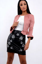Womens Ladies Ruffle Frill Detail Long Sleeve Cropped Blazer Jacket Coat Top