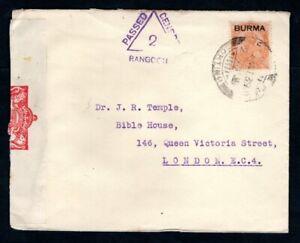 Burma - 1939 KGVI Censor Cover to London
