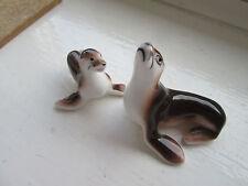Beautiful Porcelain Miniature Mother & Baby Seal - Japanese Shiken? - Sea Life