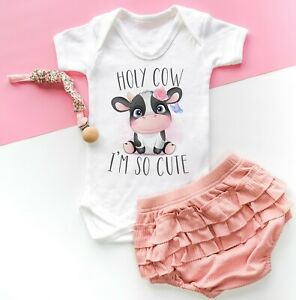 Holy Cow I'm So Cute Funny Baby Bodysuit Grow Vest Kids Baby Shower Gift Farm