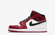 Nike Air Jordan 1 Mid GS Chicago White Toe, Size UK 6 US 6.5Y EU 39, Red Black