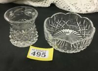 Vintage Cut Glass Crystal Posy Vase Etched & Small Bowl