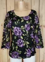 WHITE STAG Womens Size Large 3/4 Sleeve Shirt Boat Neck Black Floral Top A18