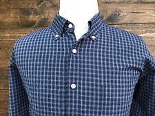 LYLE & SCOTT SCOTLAND Mens 80's 2-Ply 100%Cotton Blue & White Check Shirt Sz. XL