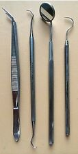 4Pcs College Plier Tweezer Dental Mirror Scaler Probes Dental Instruments Free S