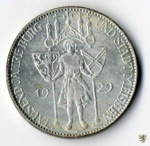 WEIMAR, 5 Mark, 1929 E, 1000 Jahre Meissen, Jg. 339, vorzüglich