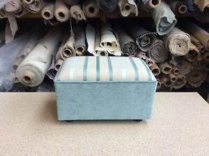 footstool / pouffe upholstered in Laura Ashley Luxford stripe duck egg