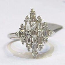 18ct WHITE GOLD 1.20 ct ROUND BRILLIANT & BAGUETTE DIAMOND DRESS RING