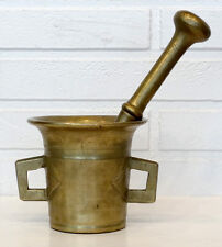 1700's 1800's ANTIQUE Vintage BRASS Bronze MORTAR & PESTLE Apothecary Pharmacy