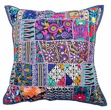 "Blue 24"" Embroidered Cushion Pillow Cover Sofa Throw Indian Bohemian Floor Decor"