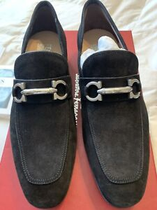 New Auth Salvatore Ferragamo Men Black Suede Loafer Moccasin Shoes 7.5 $695