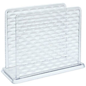 New Cooking Concepts Clear Plastic Textured Napkin Holder 5.5'' x 4.5'' ~ Qty 1
