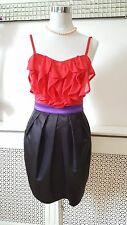 Lipsy Stunning Frilly Black Red Ladies Satin Tulip Party Occasion Dress Size 6 8