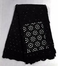 """Black Cutout Corded Bridal Lace Fabric 48"""" Width Sold By The Yard"""
