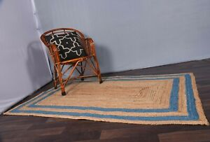 indian braided jute rug sky blue color boundary indoor-outdoor rug business gift