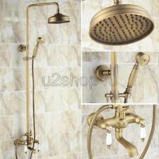 "Antique Brass 8"" Rain Shower Faucet Set Tub Mixer Tap With Hand Shower Urs146"
