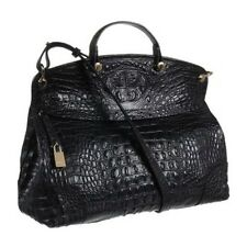 FURLA BLACK PIPER CROC EMBOSSED LEATHER CROSSBODY/SATCHEL BAG