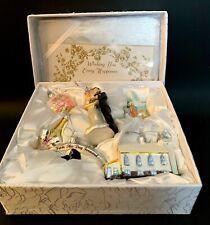 KURT S ADLER 6 CHRISTMAS HAND BLOWN WEDDING ORNAMENTS & WHITE LACE KEEPSAKE BOX