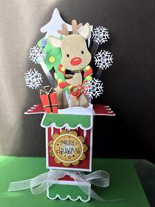 REINDEER - 3D POP UP CHRISTMAS BOX CARD - HANDMADE