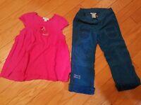 Lot of 2 EUC girls Naartjie Kids pink dress and green pants size 4
