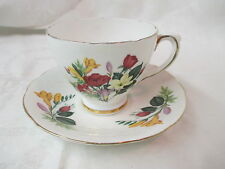 Vintage England Delphine bone china Cup & Saucer Freesia and Roses