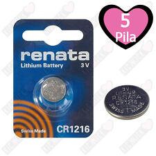 5 BATTERIE A BOTTONE PILE CR1216 3V LITIO RENATA
