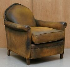 STUNNING OLD HICKORY TANNERY BROWN LEATHER SUEDE FINISH GENTLEMAN CLUB ARMCHAIR