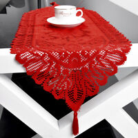 Red Vintage Lace Dining Table Runner Doily Floral Wedding Party Home Decor