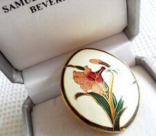 CLOISONNE ENAMEL FLOWER  BROOCH lily orchid art nouveau gift scarf pin  vintage