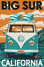 "Vintage Illustrated Travel Poster CANVAS PRINT Big Sur California Camper 16""X12"""