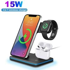 15w Foldable Wireless Charger 3in1 Charging Stand Dock for iWatch iPhone 12 11 X