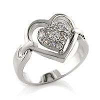 Bague luxe argent rhodié femme mode chic serti zirconium diamant mariage coeur