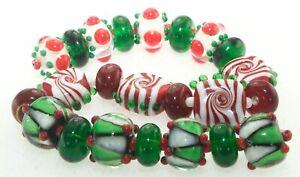 OliveStuart Handmade Lampwork Beads 23 christmas red/white/green round/tile